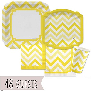 Yellow Chevron - Baby Shower Tableware Bundle for 48 Guests