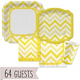 Yellow Chevron - Baby Shower Tableware Bundle for 64 Guests