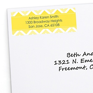 Yellow Chevron - Personalized Baby Shower Return Address Labels - 30 ct