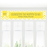 Yellow Chevron Chevron - Personalized Baby Shower Banner