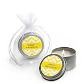 Yellow Chevron - Candle Tin Personalized Baby Shower Favors