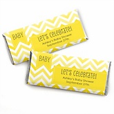 Yellow Chevron - Personalized Baby Shower Candy Bar Wrapper