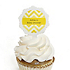 Chevron Yellow - Personalized Baby Shower Cupcake Picks and Sticker Kit - 12 ct