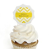 Chevron Yellow - 12 Cupcake Picks & 24 Personalized Stickers - Baby Shower Cupcake Toppers