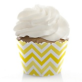 Yellow Chevron - Baby Shower Cupcake Wrappers