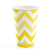 Yellow Chevron - Baby Shower Hot/Cold Cups - 8 Pack