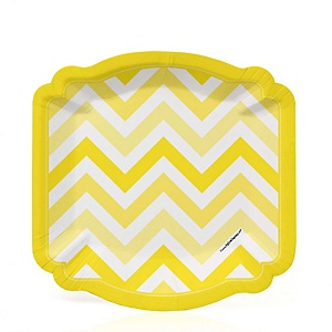 Yellow Chevron - Baby Shower Dessert Plates - 8 Pack