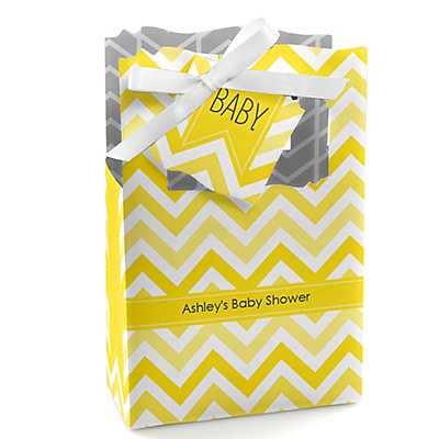 Yellow Chevron - Personalized Baby Shower Favor Boxes...
