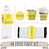 Chevron Yellow - 40 Piece Personalized Baby Shower Party Kit