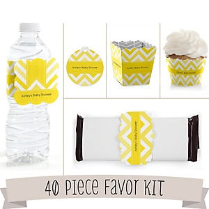 Yellow Chevron - Do It Yourself 40 Piece Personalized Party Kit