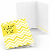 Yellow Chevron - Baby Shower Thank You Cards - Set of  8