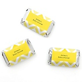 Yellow Chevron - Personalized Baby Shower Mini Candy Bar Wrapper Favors - 20 ct