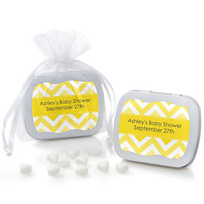 Yellow Chevron - Mint Tin Personalized Baby Shower Favors...