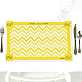 Yellow Chevron - Personalized Baby Shower Placemats
