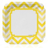 Yellow Chevron - Baby Shower Dinner Plates - 8 Pack