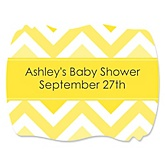 Yellow Chevron - Personalized Baby Shower Squiggle Sticker Labels - 16 Count