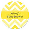 Chevron Yellow - Personalized Baby Shower Sticker Labels - 24 ct