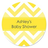 Yellow Chevron - Personalized Baby Shower Round Sticker Labels - 24 Count