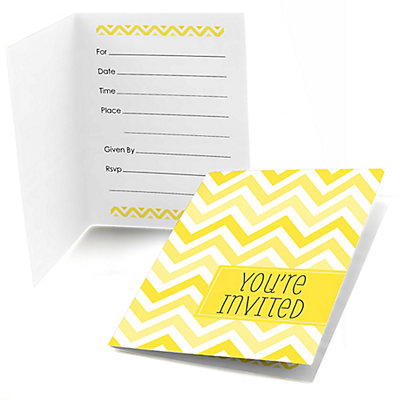 Chevron yellow bridal shower fill in invitations 8 ct for Bridal shower fill in invitations