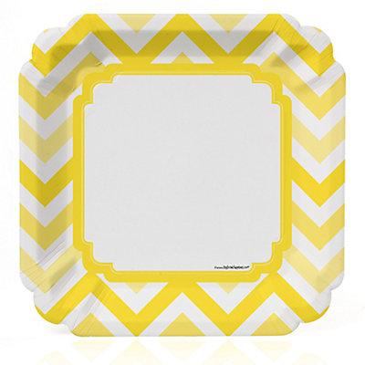 Chevron Yellow - Bridal Shower Dinner Plates - 8 ct...