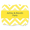 Chevron Yellow - Personalized Everyday Party Squiggle Stickers - 16 ct
