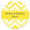 Chevron Yellow - Personalized Everyday Party Sticker Labels - 24 ct