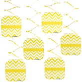 Chevron Yellow - Baby Shower Hanging Decorations - 6 ct