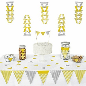Yellow Chevron - Baby Shower Triangle Decoration Kits - 72 Count