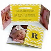 Chevron Yellow - Photo Birth Announcements
