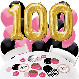 Chic pink black and gold 100th birthday birthday for 100th birthday decoration ideas