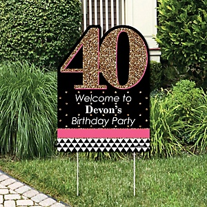 Chic Pink Black And Gold 40th Birthday Birthday Party Theme Bigdotofhappiness Com