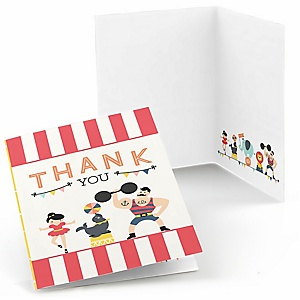 Circus / Carnival - Cirque du Soiree - Baby Shower Thank You Cards - Set of  8