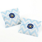 Construction Truck - Chevron Favor Bags with Personalized Round Party Sticker Labels - 24 Count