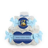 Construction Truck - 2 Tier Personalized Square Baby Shower Diaper Cake