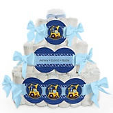 Construction Truck - 3 Tier Personalized Square Baby Shower Diaper Cake