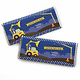 Construction Truck - Personalized Baby Shower Candy Bar Wrapper Favors