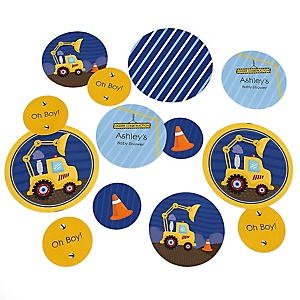 Construction Truck - Personalized Baby Shower Table Confetti - 27 ct