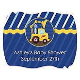 Construction Truck - Personalized Baby Shower Squiggle Sticker Labels - 16 Count