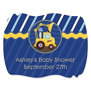 Construction Truck - Personalized Baby Shower Squiggle Stickers - 16 ct