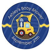 Construction Truck - Personalized Baby Shower Round Sticker Labels - 24 Count