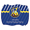 Construction Truck - Personalized Birthday Party Squiggle Stickers - 16 ct