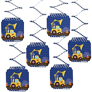 Construction Truck - Baby Shower Hanging Decorations - 6 ct