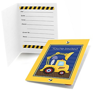 Construction Truck - Fill In Baby Shower Invitations - Set of  8