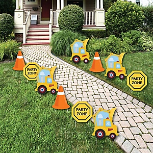 Construction Truck - Construction Zone Lawn Decorations - Outdoor Baby Shower or Birthday Party Yard Decorations - 10 Piece