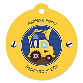 Construction Truck - Round Personalized Party Tags - 20 ct