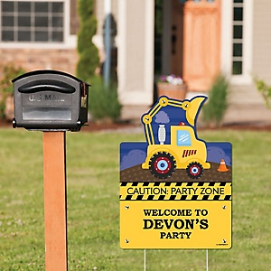 Construction Truck - Party Decorations - Birthday Party or Baby Shower Personalized Welcome Yard Sign