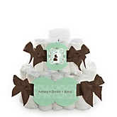 Silhouette Couples Baby Shower - It's A Baby - 2 Tier Personalized Square Baby Shower Diaper Cake