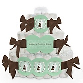 Silhouette Couples Baby Shower - It's A Baby - 3 Tier Personalized Square Baby Shower Diaper Cake
