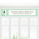 Silhouette Couples Baby Shower - It's A Baby - Personalized Baby Shower Banner