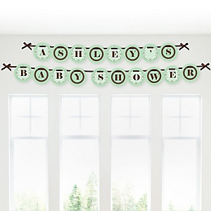 Silhouette Couples Baby Shower - It's A Baby - Personalized Baby Shower Garland Banner